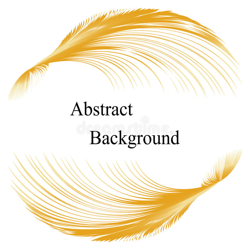 Modèle d'or de plumes avec le texte au centre abrégez le fond Calibre pour des labels, bannières, insignes, affiches, autocollant illustration de vecteur
