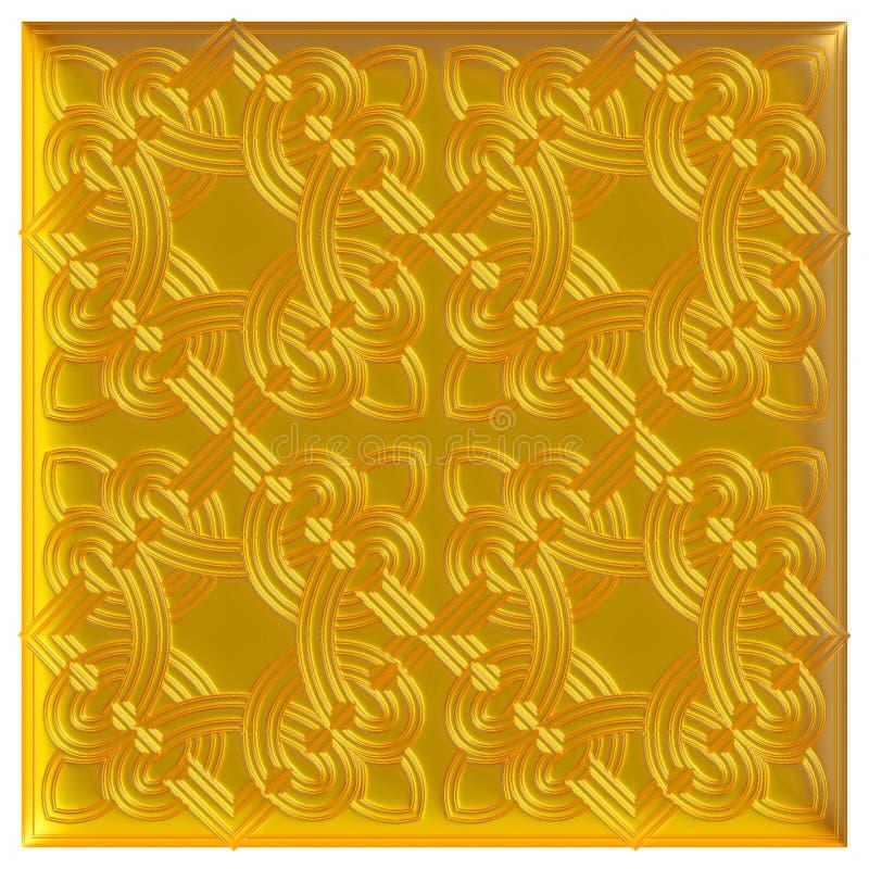 Modèle d'or de textile de brocard d'ornement floral illustration de vecteur
