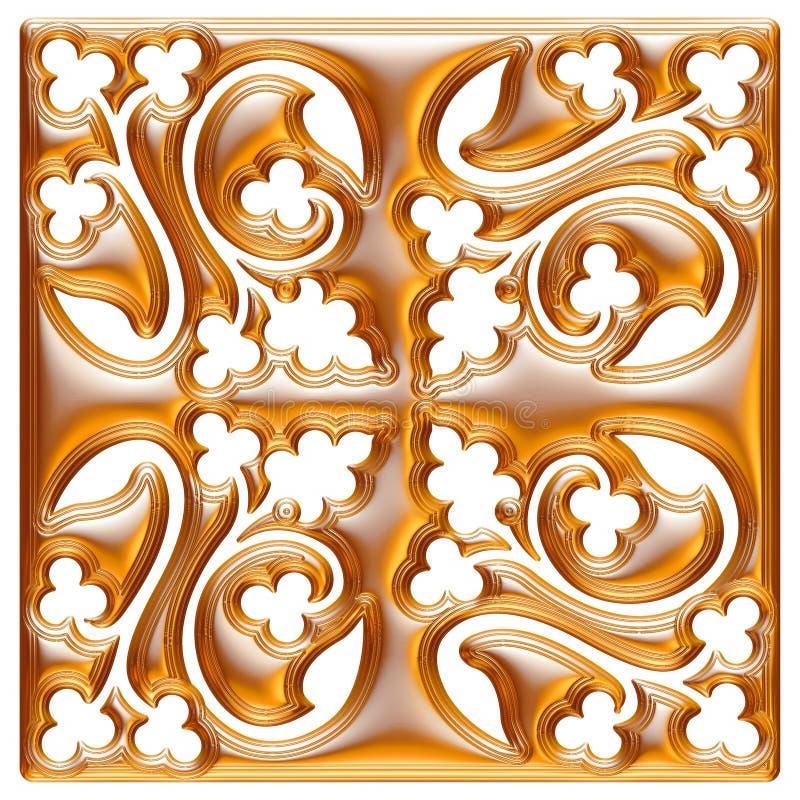 Modèle d'or de textile de brocard d'ornement floral illustration stock