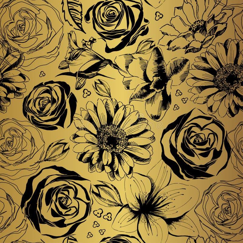 Modèle d'or de vecteur avec les fleurs noires Silhouettes florales décoratives illustration libre de droits