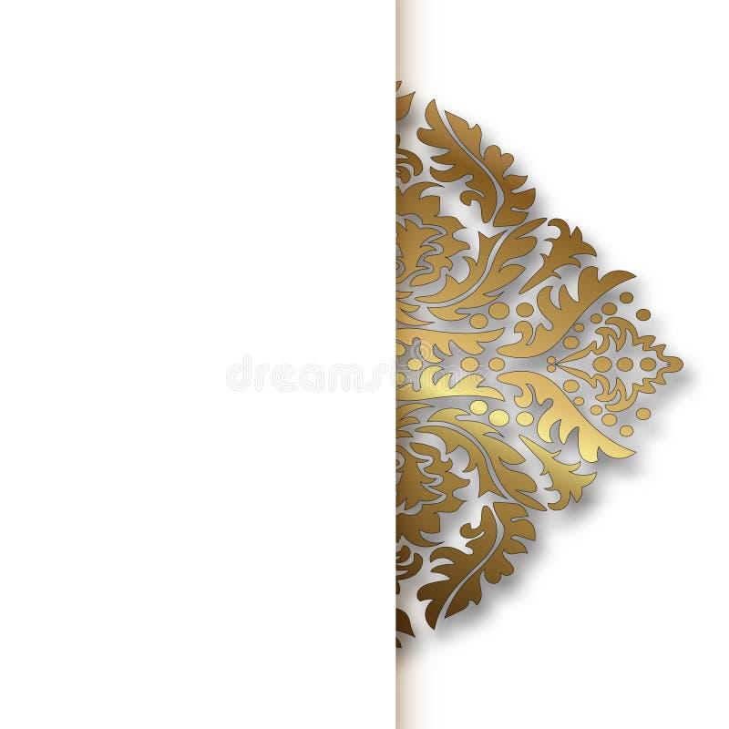 Modèle d'or de vecteur de cru blanc de damassé Vecteur ENV 10 illustration libre de droits