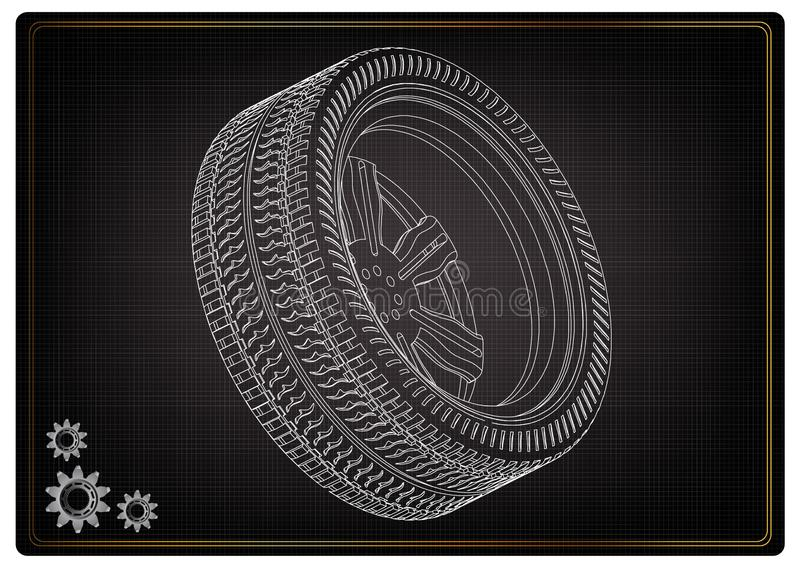 modèle 3d des roues sur un noir illustration libre de droits
