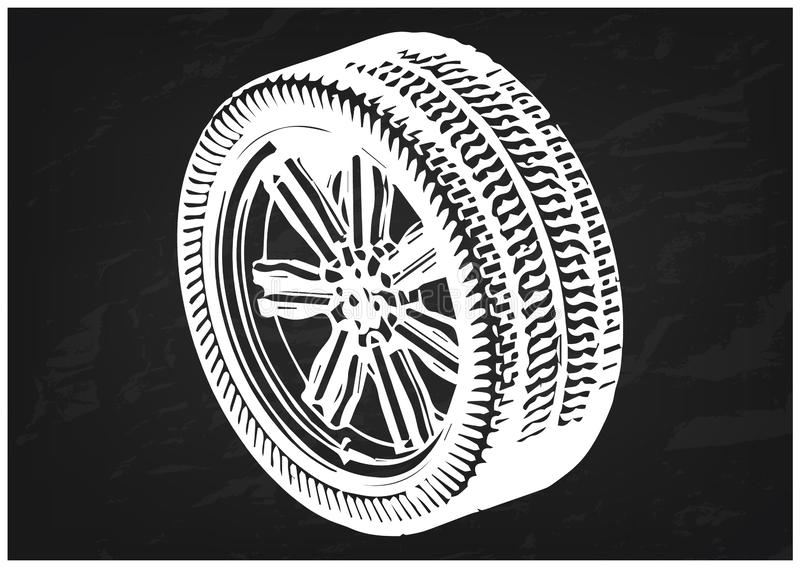 modèle 3d des roues sur un noir illustration de vecteur