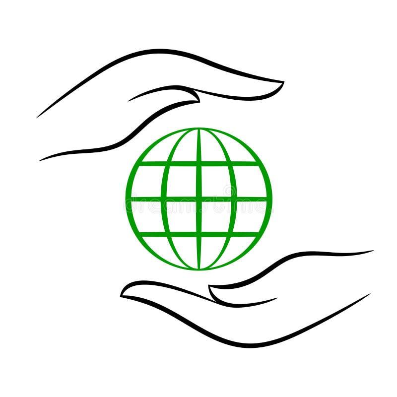 Modèle d'eco de découpe avec la planète dans des mains, illustration de vecteur