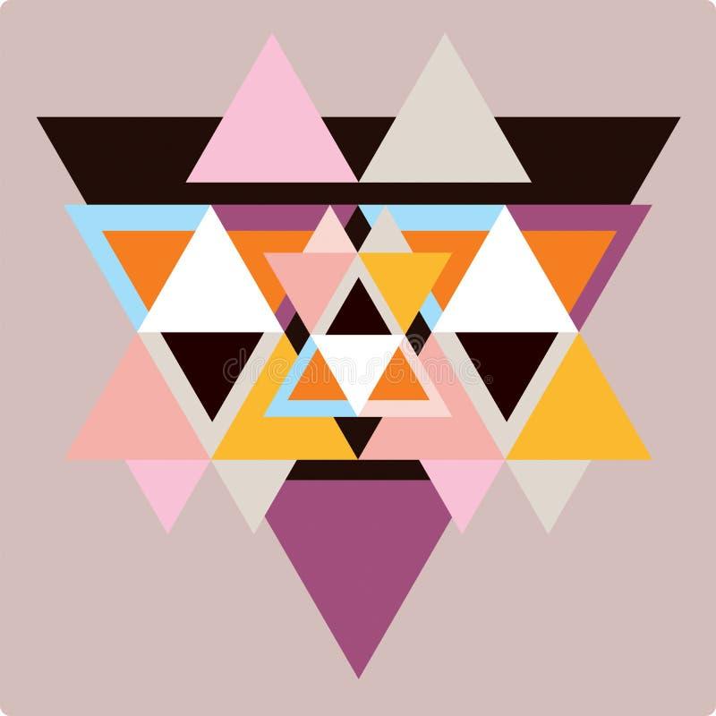 Modèle d'Ector avec des formes géométriques colorées, triangles illustration libre de droits