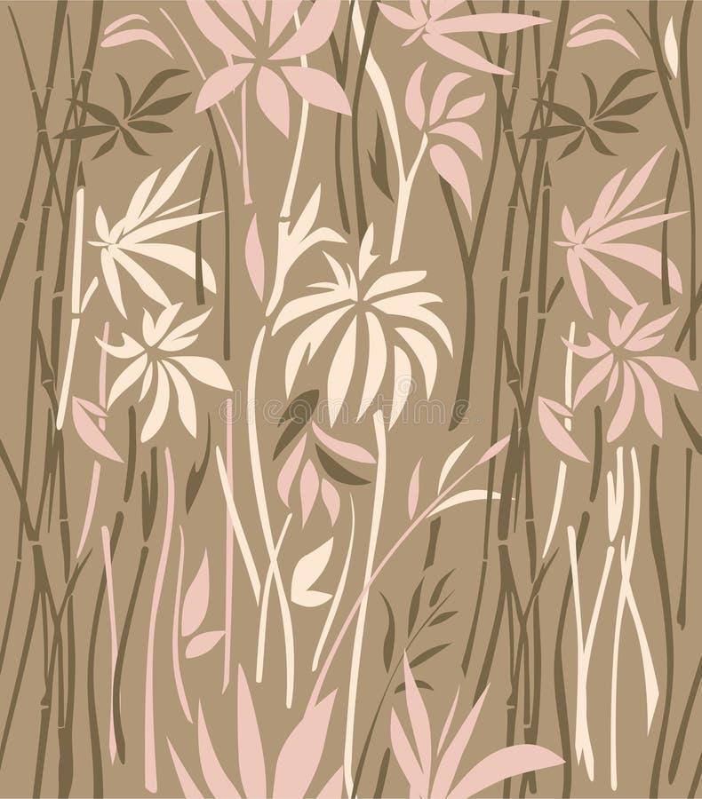 Modèle d'en bambou envahi sur un fond brun illustration de vecteur