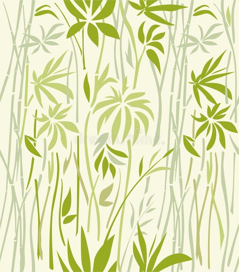 Modèle d'en bambou envahi sur un fond clair illustration stock