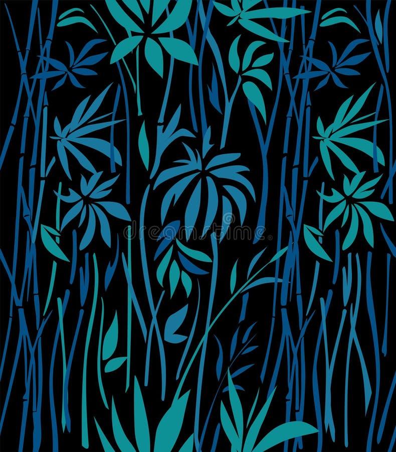 Modèle d'en bambou envahi sur un fond noir illustration stock