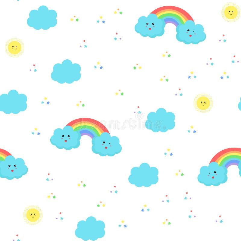 Modèle d'enfants de vecteur avec les nuages, les arcs-en-ciel, le soleil et les étoiles mignons illustration stock