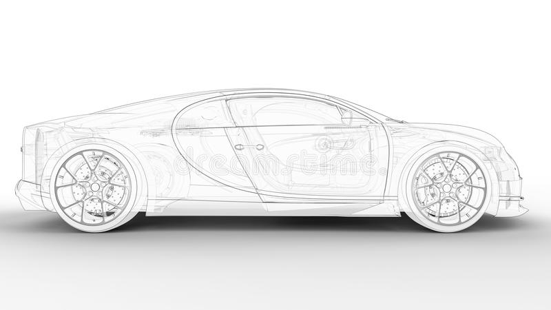 Modèle d'ensemble de détail de voiture de sport illustration libre de droits