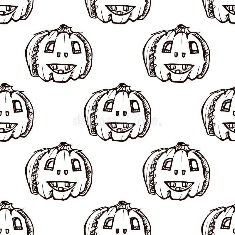 Modèle d'Halloween sans soudure avec citrouilles dessinées à la main illustration stock