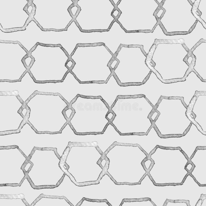 Modèle d'hexagone Copie sans fin sans couture d'aquarelle géométrique illustration stock