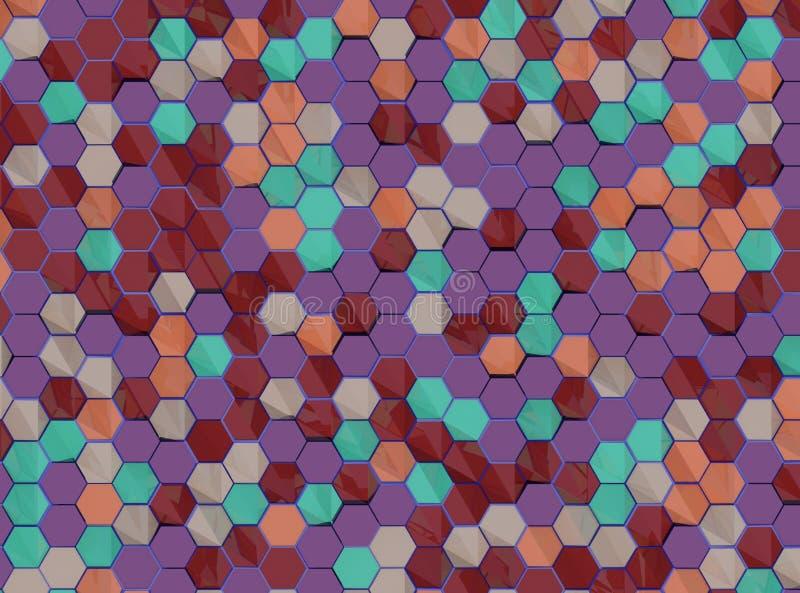 Modèle d'hexagones - couleurs aléatoires illustration libre de droits