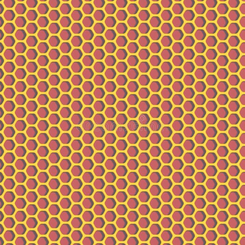 Modèle d'hexagones - matériel brillant jaune sur le fond rouge illustration stock