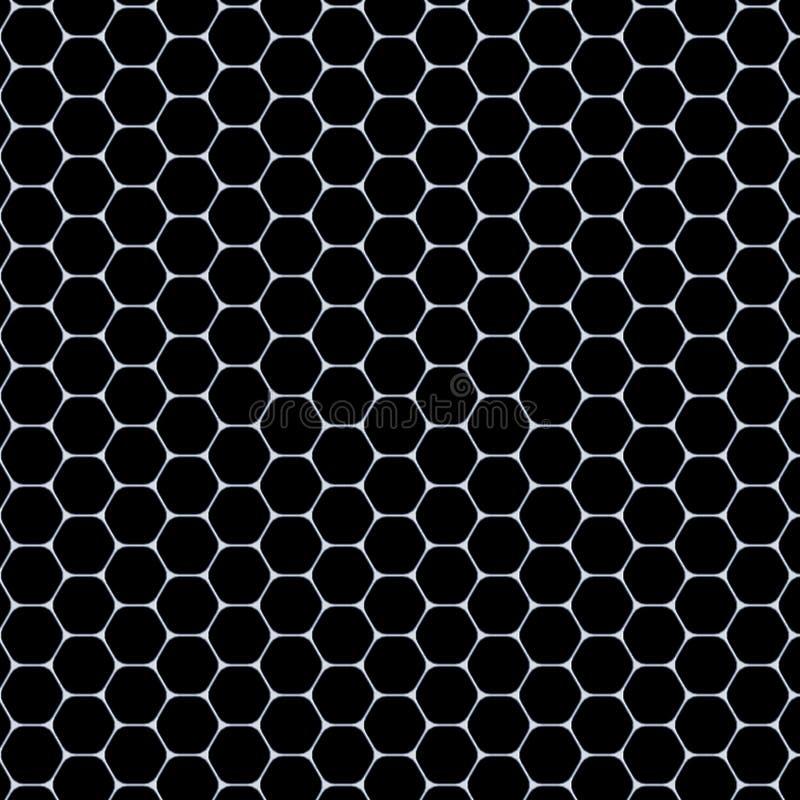 Modèle d'hexagones - tapis blanc sur le fond noir illustration libre de droits
