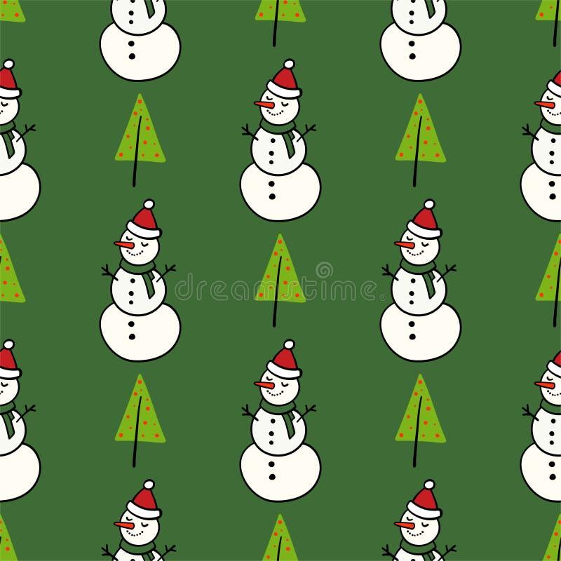 Modèle d'hiver de vecteur pour la conception de décoration avec le bonhomme de neige et l'arbre de Noël Décoration de fond de bon illustration libre de droits