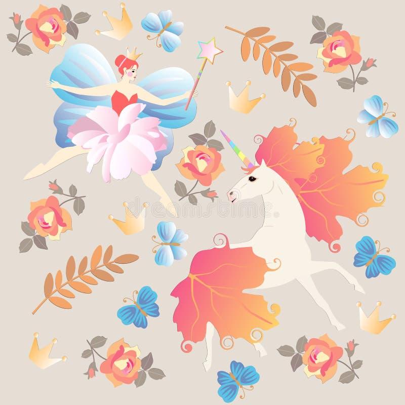 Modèle d'imagination avec la ballerine féerique à ailes, baguette magique magique, licorne, fleurs roses, papillons bleus, feu illustration stock