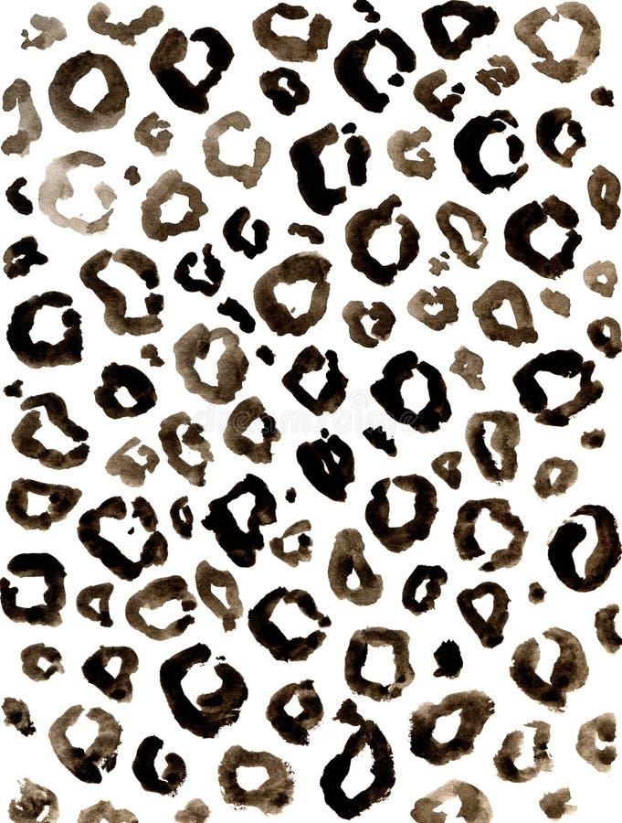 Modèle d'impression de léopard de brun d'aquarelle illustration de vecteur