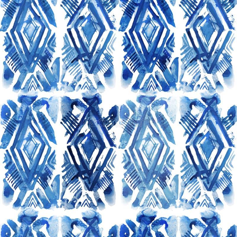 Modèle d'indigo de shibori d'aquarelle illustration libre de droits