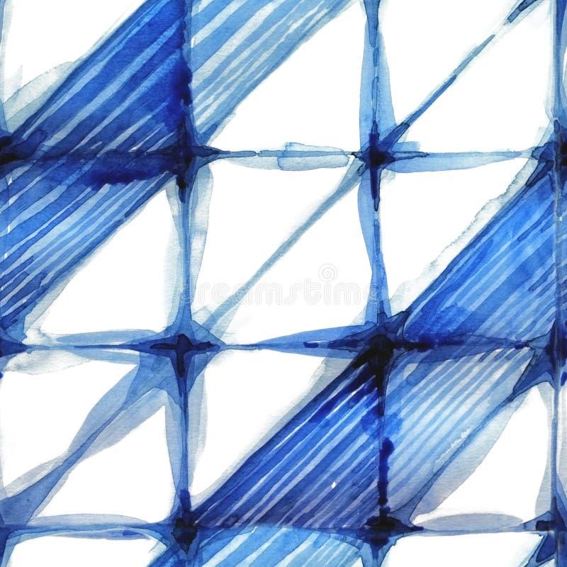 Modèle d'indigo de shibori d'aquarelle illustration stock