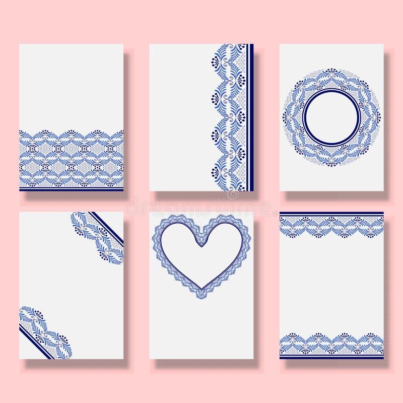 Modèle d'invitation de mariage Ensemble de couvertures avec ornements bleus Fashion Collection modèles ethniques style national illustration de vecteur