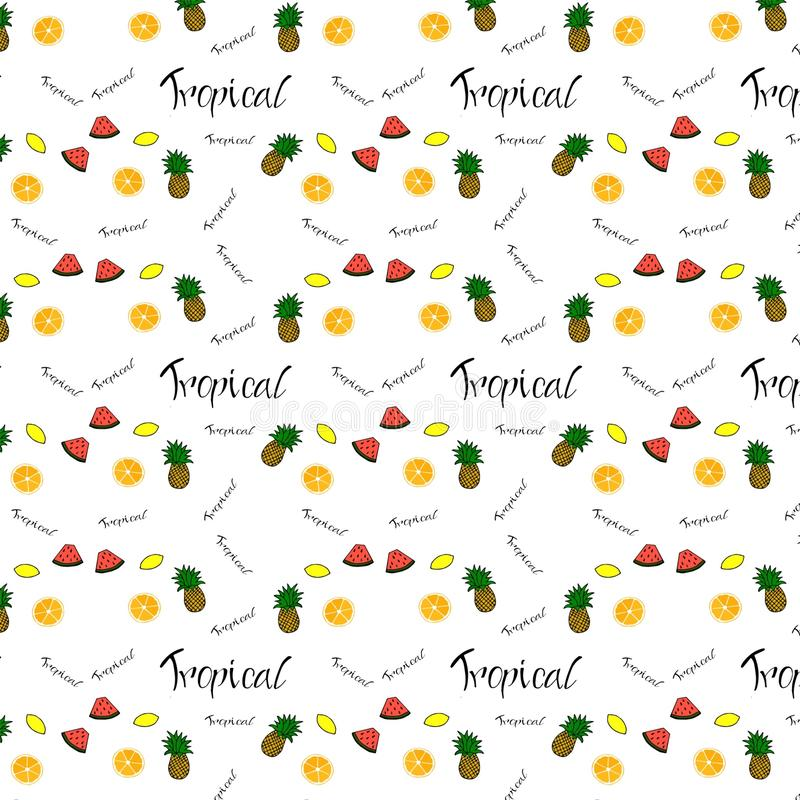 Modèle d'orange de fruit, citron, ananas, pastèque ily illustration libre de droits