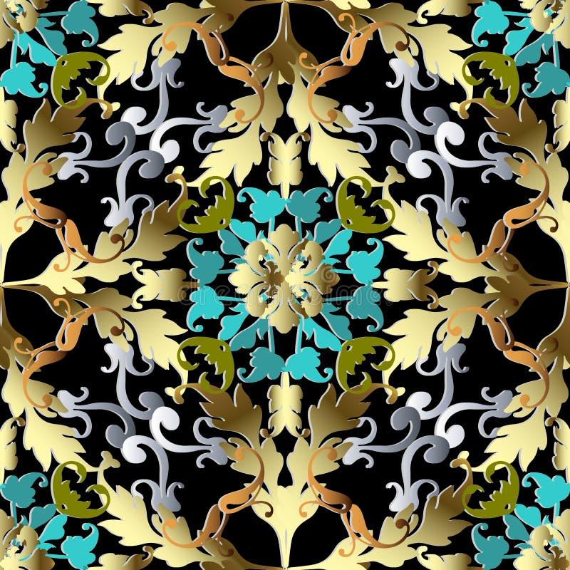 Modèle 3d sans couture baroque d'or Backgroun fleuri de damassé de vecteur illustration de vecteur