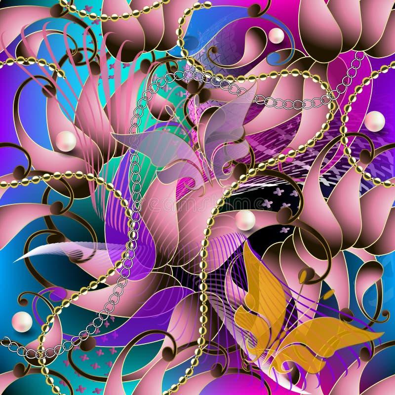 Modèle 3d sans couture coloré de Paisley Fond lumineux rougeoyant de vecteur Formes abstraites, lignes, fleurs, papillons volants illustration de vecteur