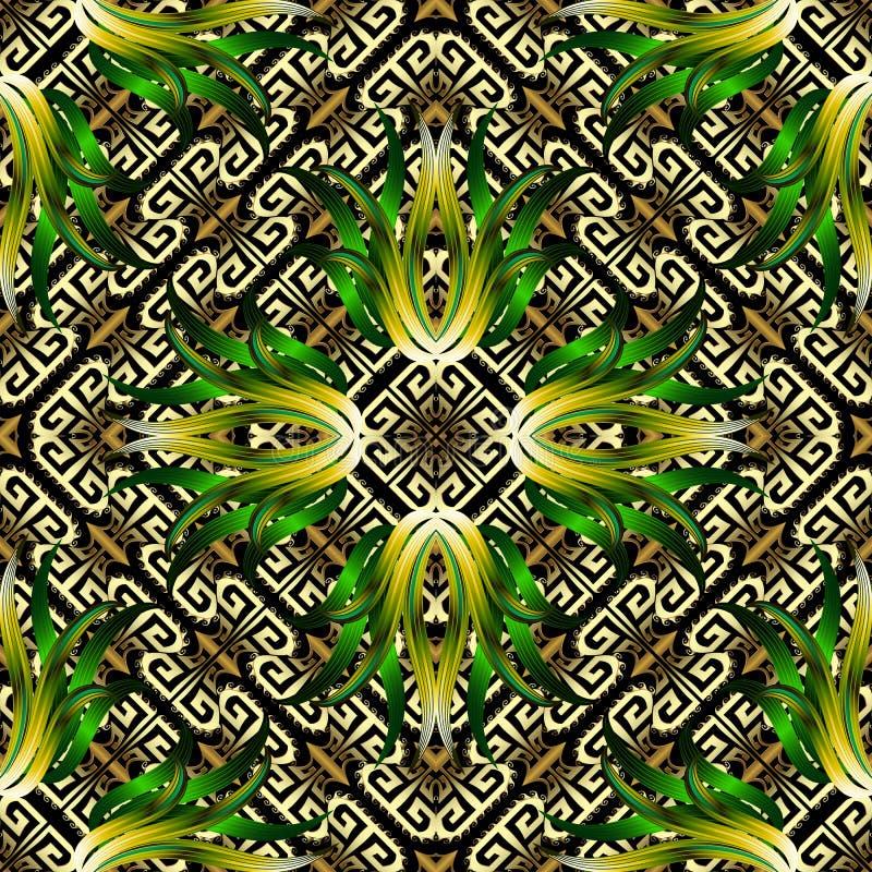 Modèle 3d sans couture grec floral ornemental géométrique Fond tropical coloré de vecteur Fleurs abstraites tropicales exotiques, illustration libre de droits