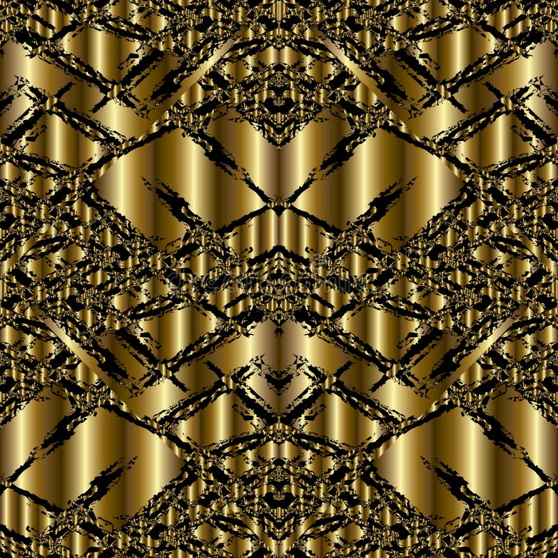 Modèle 3d sans couture grunge moderne d'or Vecteur abstrait Backgrou illustration libre de droits