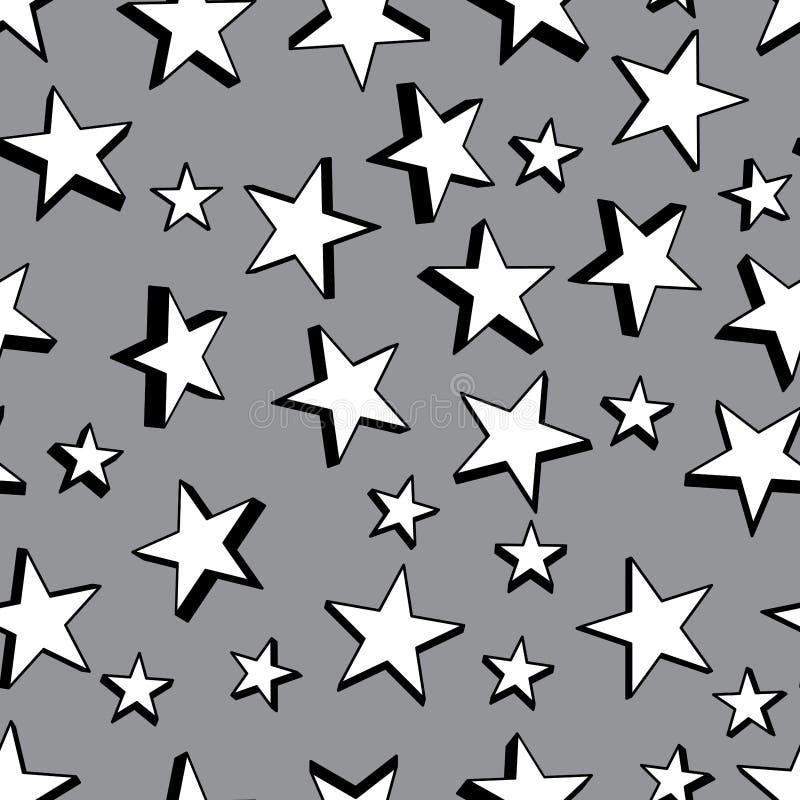 Modèle 3d sans couture noir et blanc d'étoile illustration de vecteur