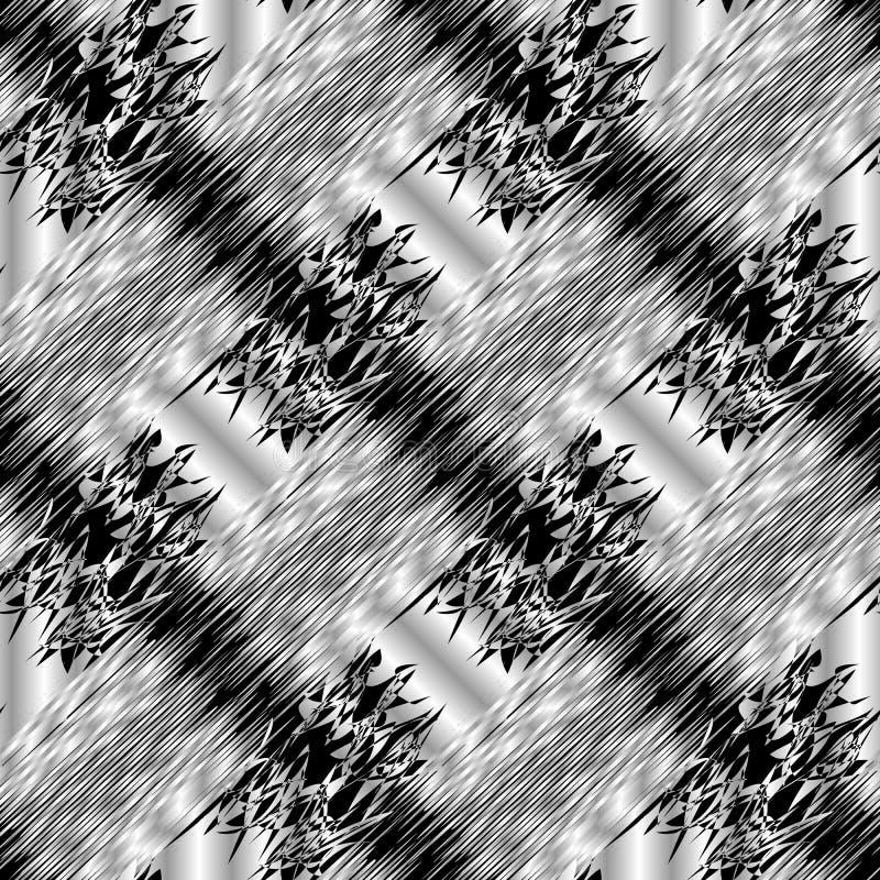 Modèle 3d sans couture noir et blanc rayé abstrait Gru de vecteur illustration stock