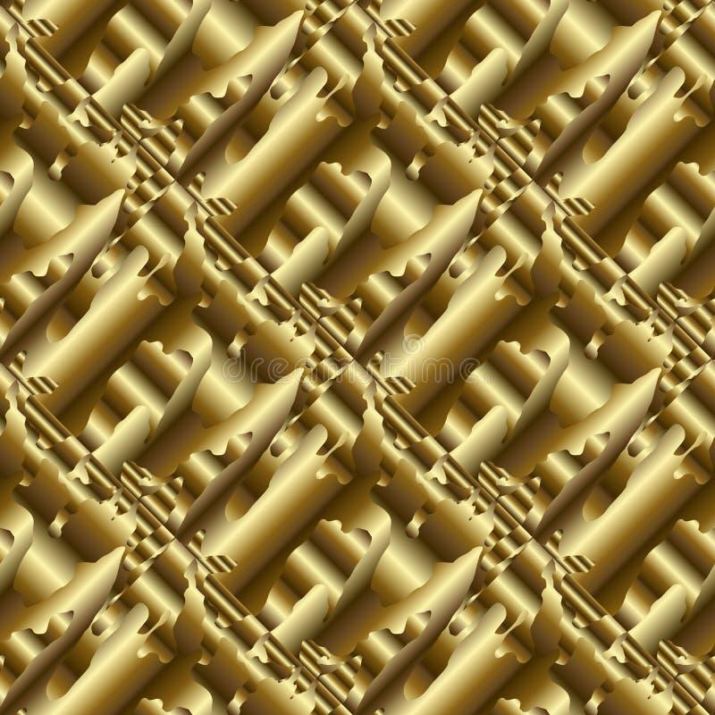 Modèle 3d sans couture psychédélique d'or CCB d'or abstrait de vecteur illustration de vecteur
