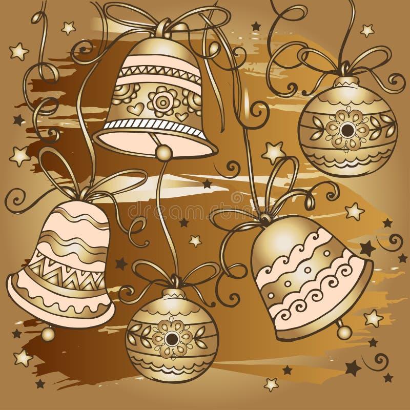 Modèle d'or tiré par la main de cloches de Noël Concevez pour des cartes de voeux avec le Joyeux Noël et la bonne année illustration libre de droits