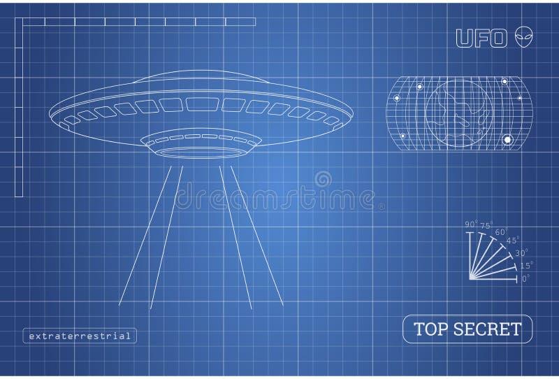 Modèle d'UFO Document technique avec le dessin du vaisseau spatial étranger illustration libre de droits