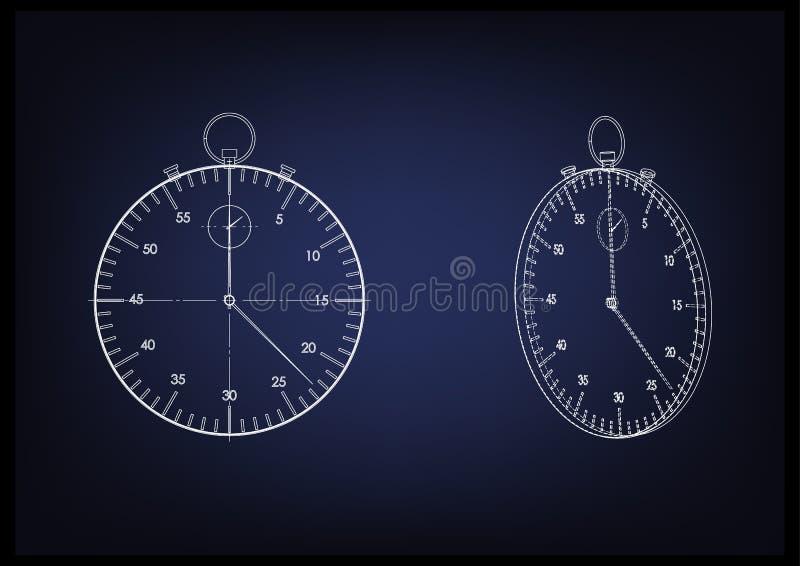 modèle 3d d'un chronomètre illustration de vecteur