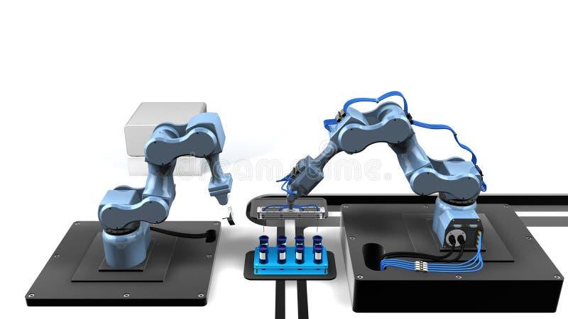 modèle 3D d'un laboratoire automatisé avec deux bras mécaniques prélevant des échantillons provenant d'un plateau des tubes à ess illustration stock
