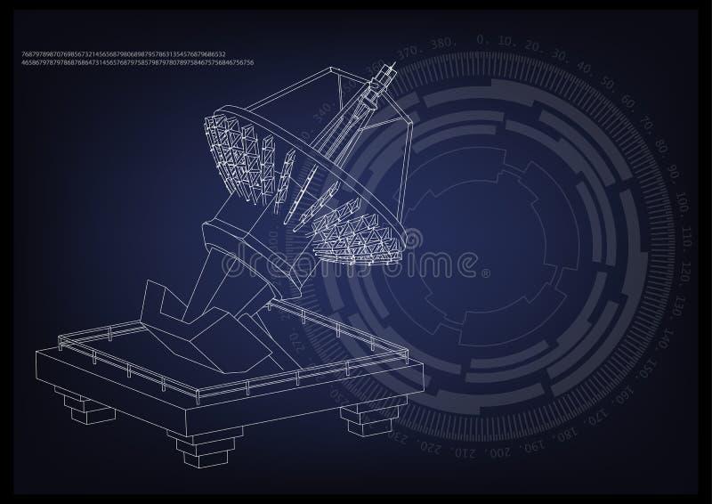 modèle 3d d'une antenne illustration de vecteur