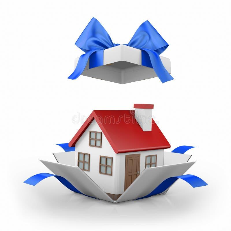 Modèle d'une maison dans le boîte-cadeau illustration de vecteur