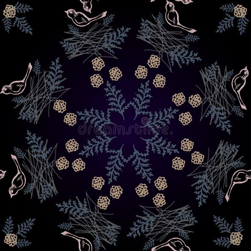 Modèle dans le style scandinave avec des oiseaux et des fleurs illustration de vecteur