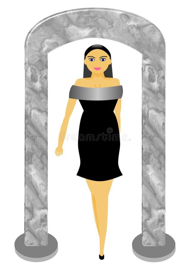 Modèle dans peu de robe noire illustration libre de droits
