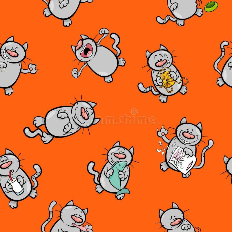 Modèle de bande dessinée avec des caractères de chat illustration stock