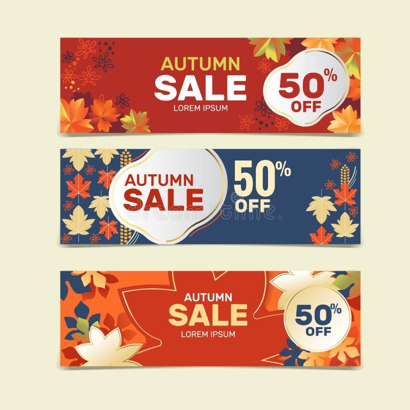 Modèle de bannière de vente d'automne avec arrière-plan en feuilles et anneau en or. Saisons de vente d'automne photo stock