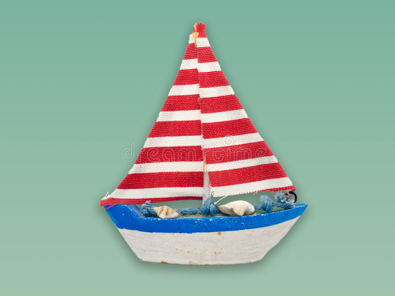 Modèle de bateau d'isolement sur le fond de couleur photos libres de droits