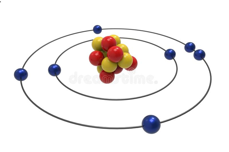 Modèle de Bohr d'atome d'azote avec le proton, le neutron et l'électron illustration de vecteur