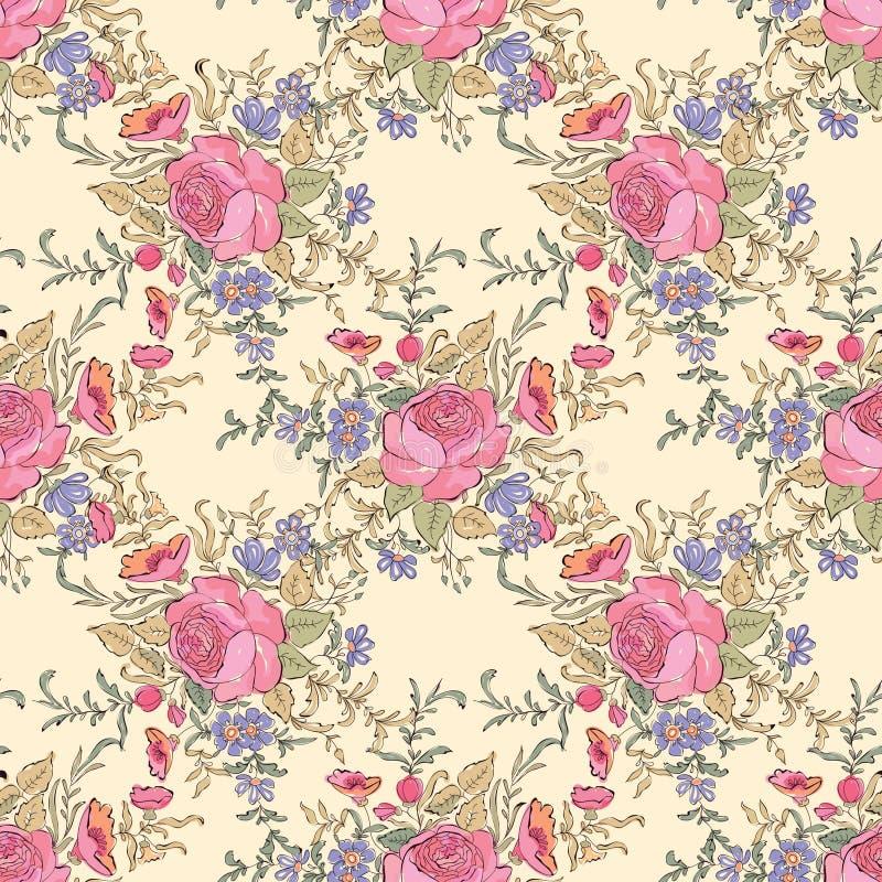 Modèle de bouquet de fleur Fond sans joint floral Couture florale illustration stock