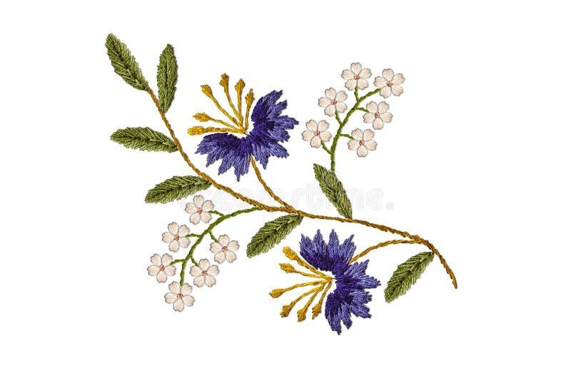 Modèle de brindille onduleuse, avec les bleuets pourpres et les fleurs blanches sensibles sur un fond blanc illustration stock