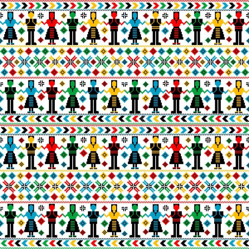 Modèle de broderie tricoté par art populaire traditionnel avec des danseurs illustration libre de droits