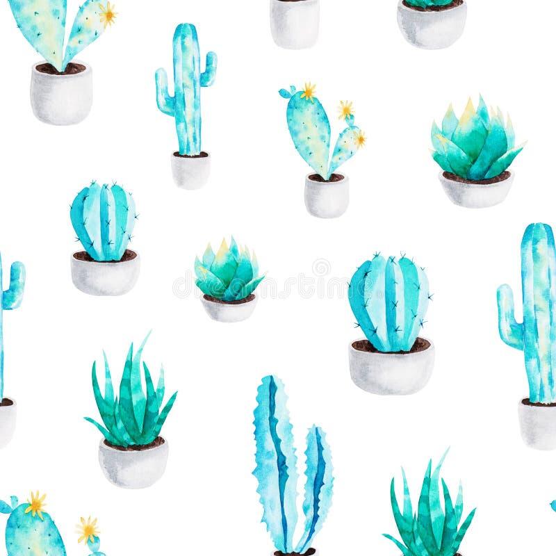 Modèle de cactus des éléments d'aquarelle pour la conception Usines succulentes dans le pot de fleur Type scandinave illustration stock