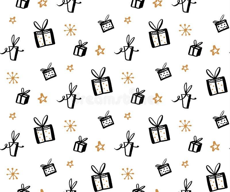 Modèle de cadeau, texture sans couture avec les illustrations tirées par la main des boîtes actuelles Fond de cadeaux de vecteur illustration libre de droits